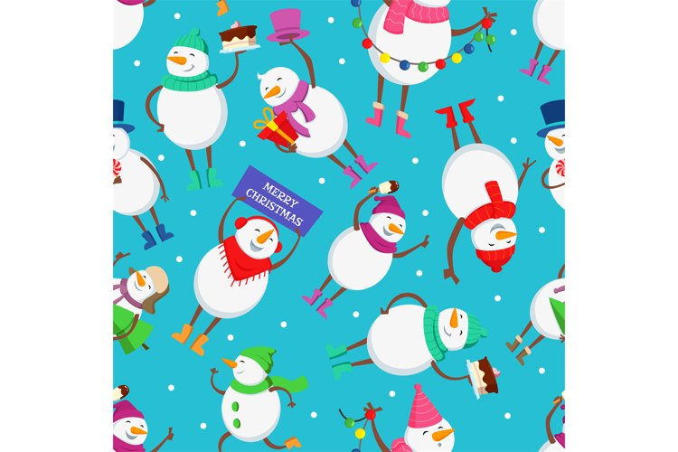 Christmas seamless pattern with funny characters of snowman example image 1
