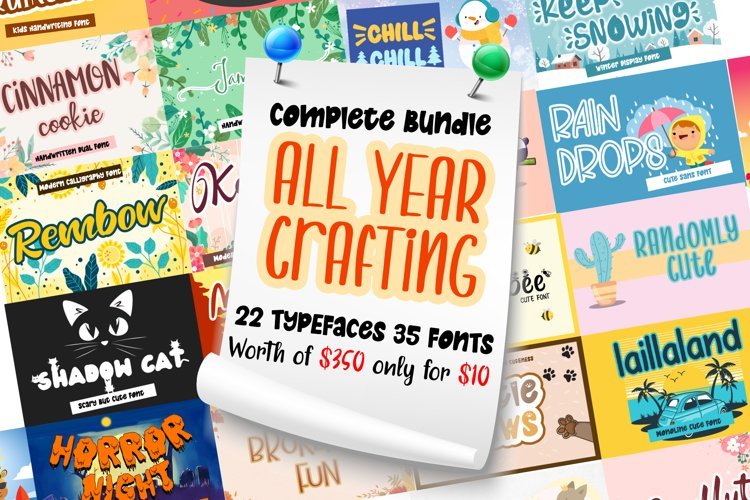 Complete Bundle - All Year Season Crafting Font Collection example image 1