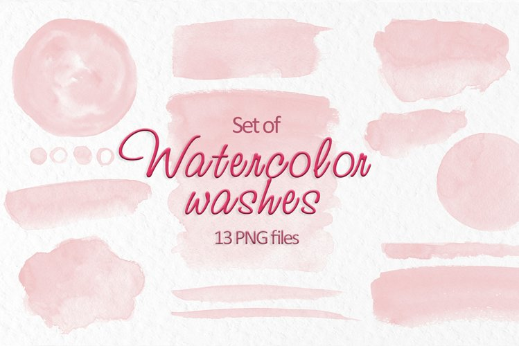 Blush Pink watercolor washes Pink stains Wedding clipart example image 1
