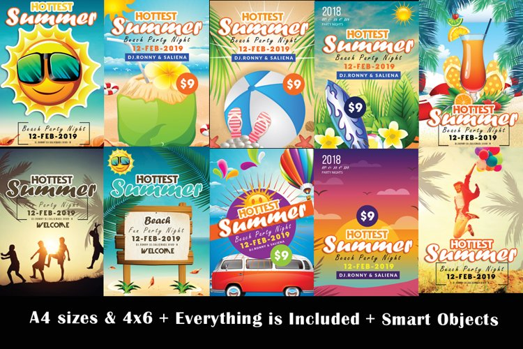 10 Summer Beach Fun Party Flyers Bundle example image 1