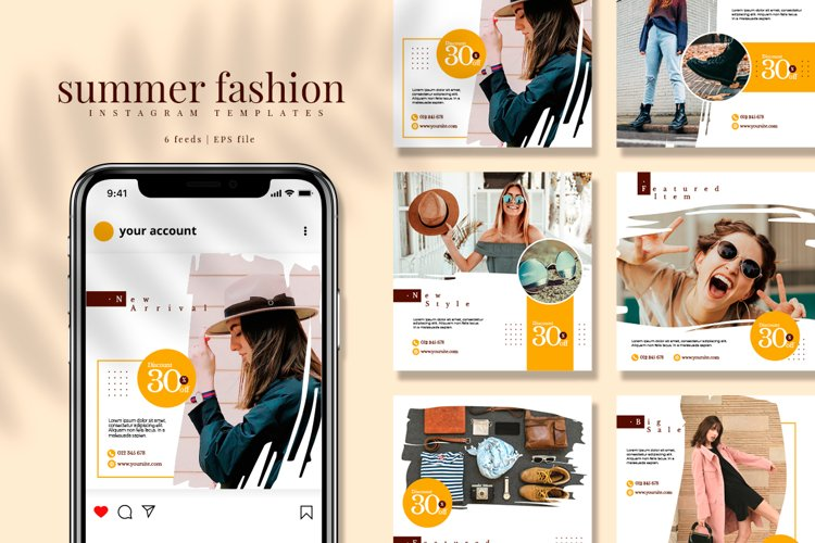 Summer Brush Instagram feed template pack example image 1