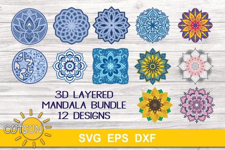 3D Layered Mandala SVG Bundle - 12 multilayered designs