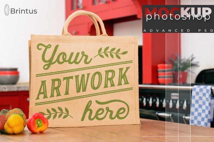 Photoshop mockup Burlap shopping-bag, tote bag, jute bag example image 1