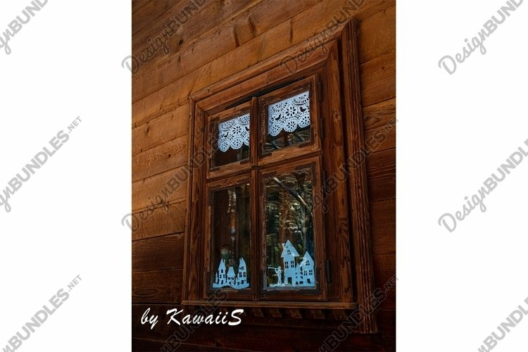 Vintage brown wooden window Antique building exterior detail example image 1