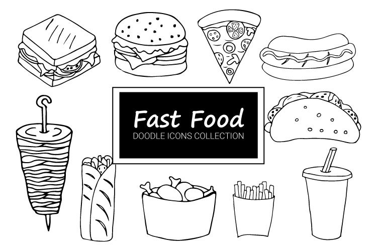 Fast food doodle icon collection