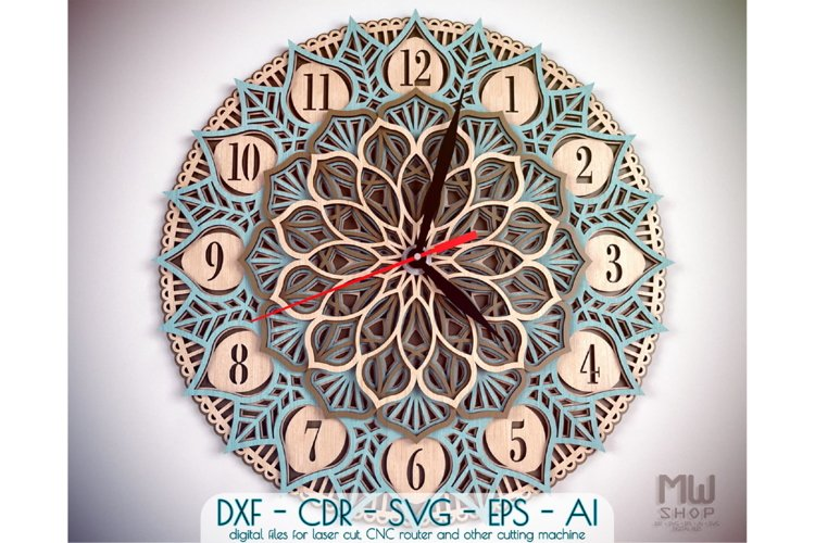 Download C25 Yoga Clock Dxf For Laser Cut Mandala Clock Svg 580088 Laser Engraving Design Bundles