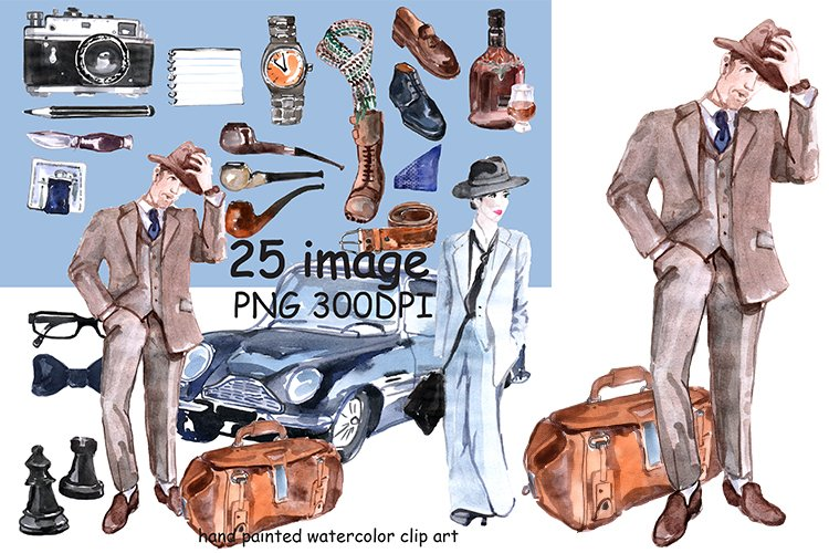 Wotercolor English gentleman clipart example image 1