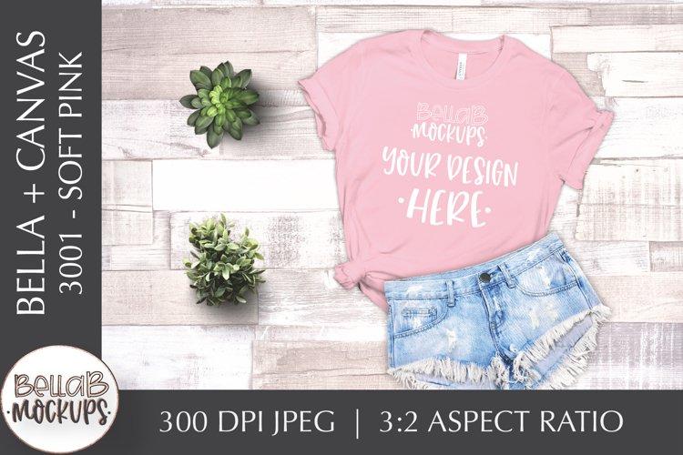 Bella Canvas 3001 Woman's T Shirt Mockup, Soft Pink Flat Lay example image 1