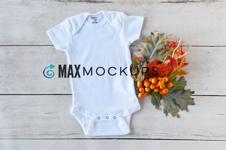 Baby bodysuit Mockup, Fall Halloween leaves, flatlay stock