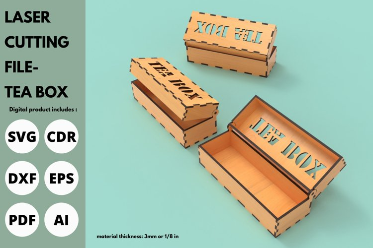 Tea Box - SVG - Laser cutting file example image 1