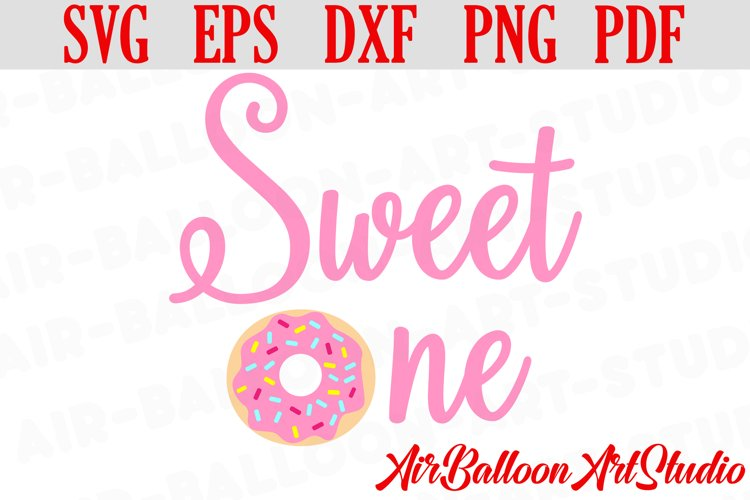 Donut Sweet One Svg Sweet One Pink Svg Donut Birthday Svg example image 1