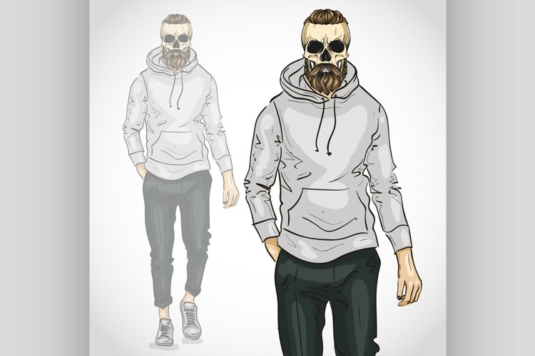 Vector man with skull and beard and moustaches example image 1