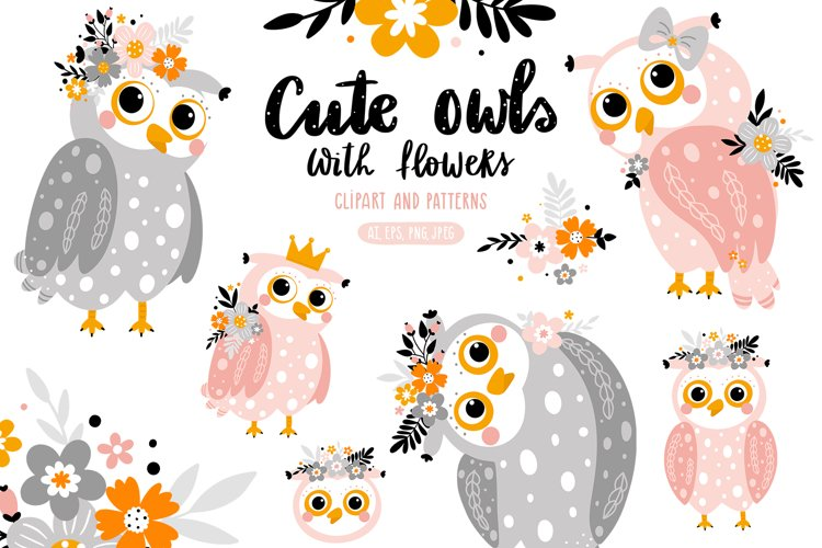Cute owls with flowers. example image 1