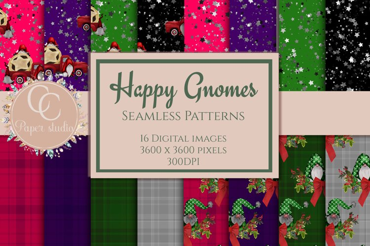 Digital paper - Happy gnomes seamless Christmas patterns
