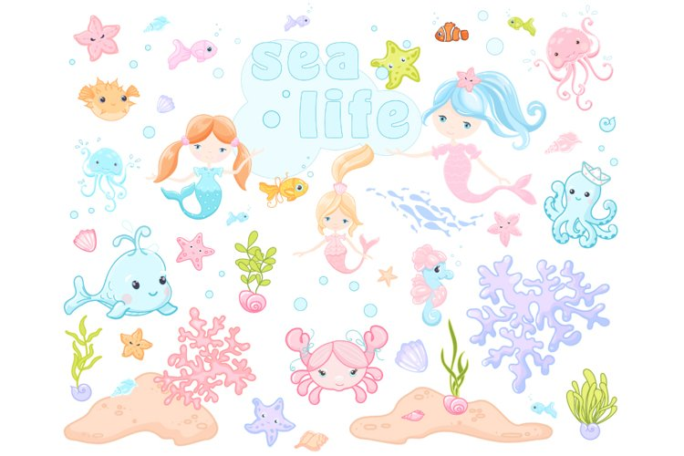 Sea Life Friends colorful Vector EPS Digital Clipart