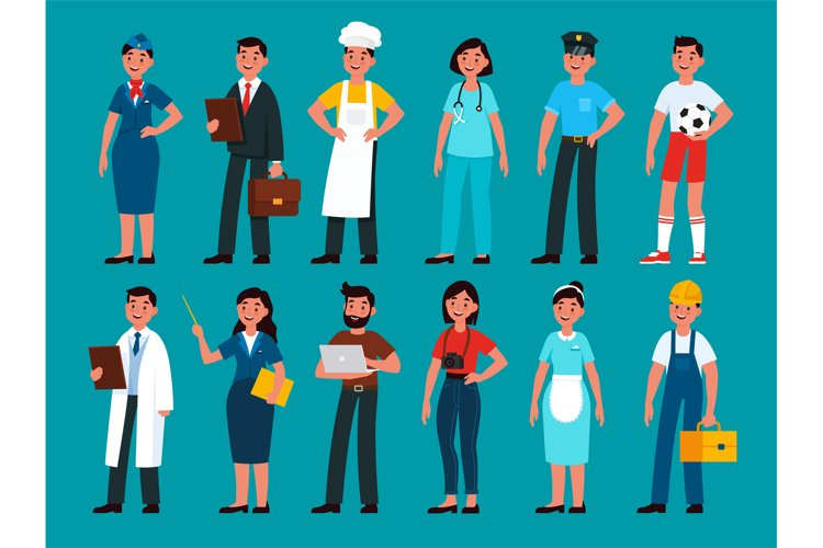 Professionals. Builder and policeman, stewardess and teacher example image 1