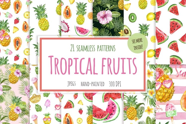 Fruits Seamless Patterns Summer Tropical Fruit pattern example image 1
