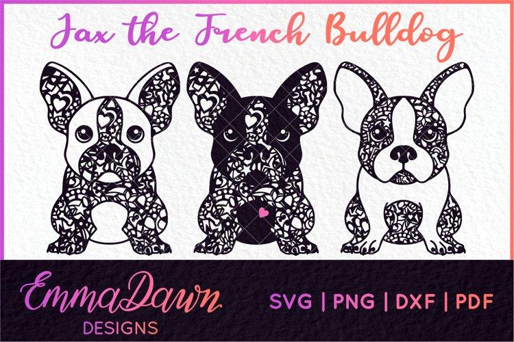 JAX THE FRENCH BULLDOG SVG MANDALA / ZENTANGLE 3 DESIGNS example image 1