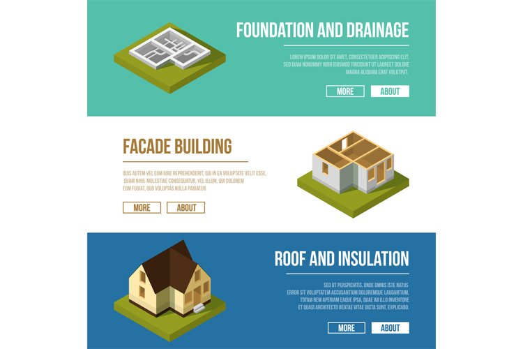 Industrial illustrations set with three banners of building example image 1