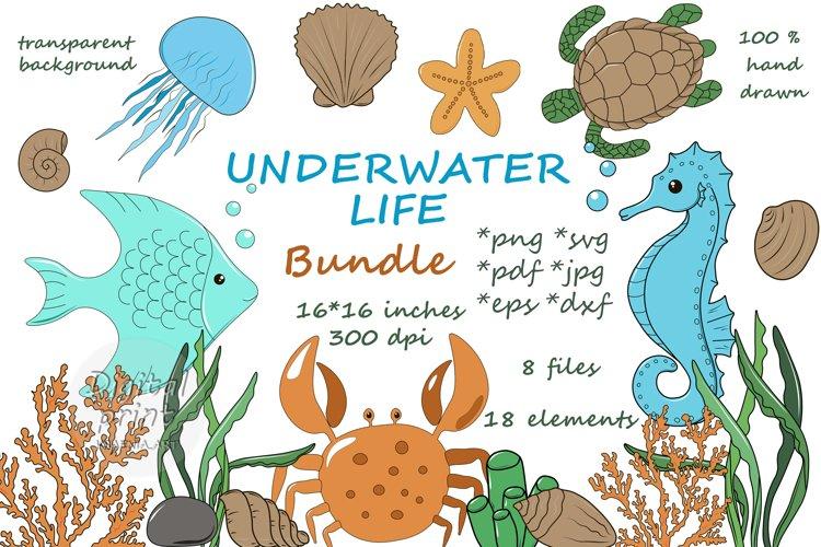 Cute Cartoon Underwater Bundle Clipart. SVG PNG JPG DXF EPS