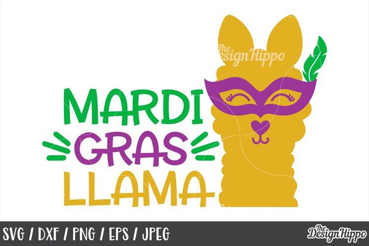 Mardi Gras Llama, Cute, Funny, SVG DXF PNG, Cricut Cut Files