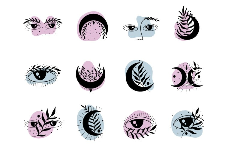 Icon symbol mystic.Eyes and moon. example image 1