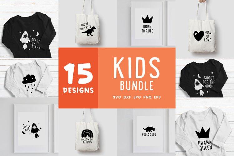 Kids Svg Bundle | Rocket Dinosaur Rainbow Crown Clipart example image 1