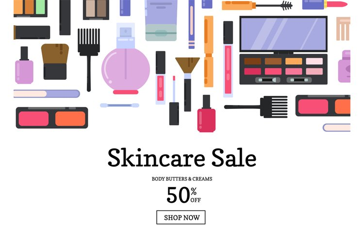 Vector flat style makeup and skincare sale example image 1