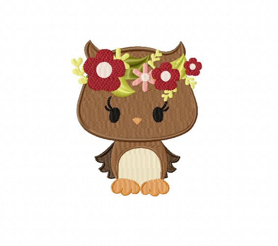 Owl Machine Embroidery Design in 2 sizes