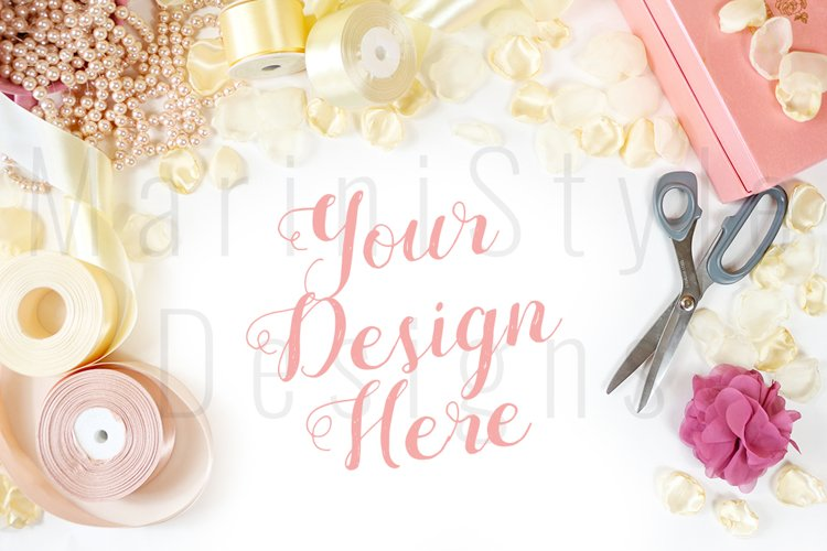 Wedding mockup, Feminine desk with jewelry & supplies, 440