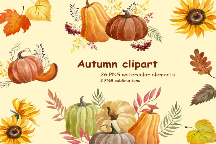 Watercolor Autumn clipart example image 1