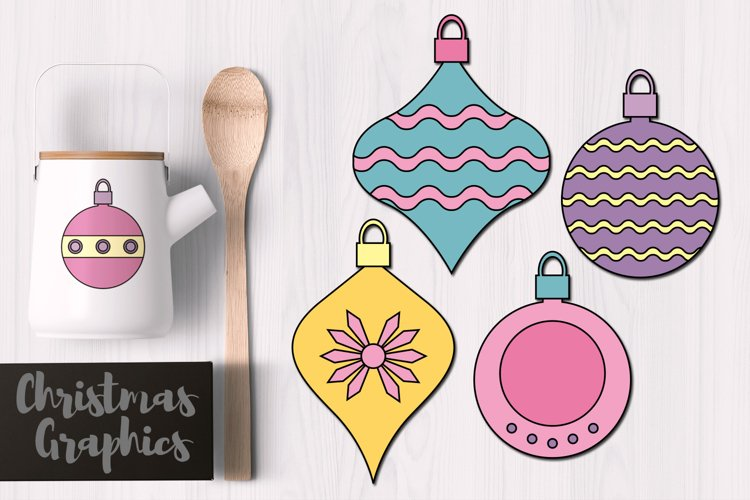 Simple Christmas Ornaments Pastel Colors example image 1