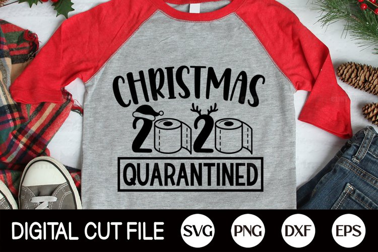 Christmas 2020 Quarantined SVG, Pandemic Christmas PNG, DXF example image 1