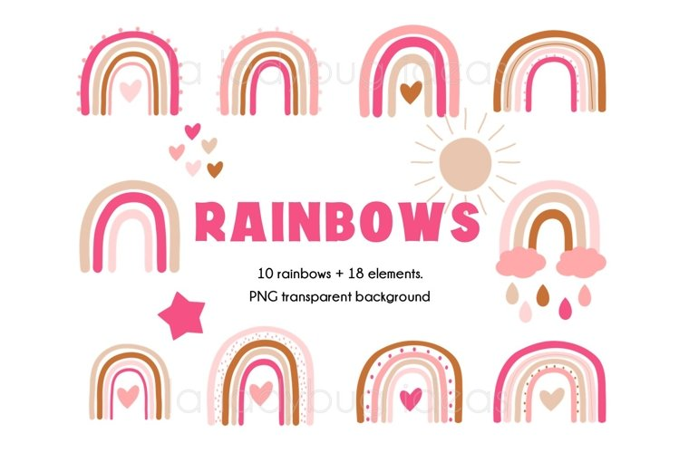 Rainbows clipart. Pink and creme rainbows clip art. 28 PNG example image 1