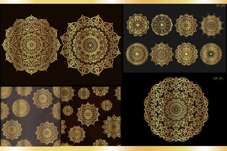 Set of gold mandalas. Lace pattern. example image 1