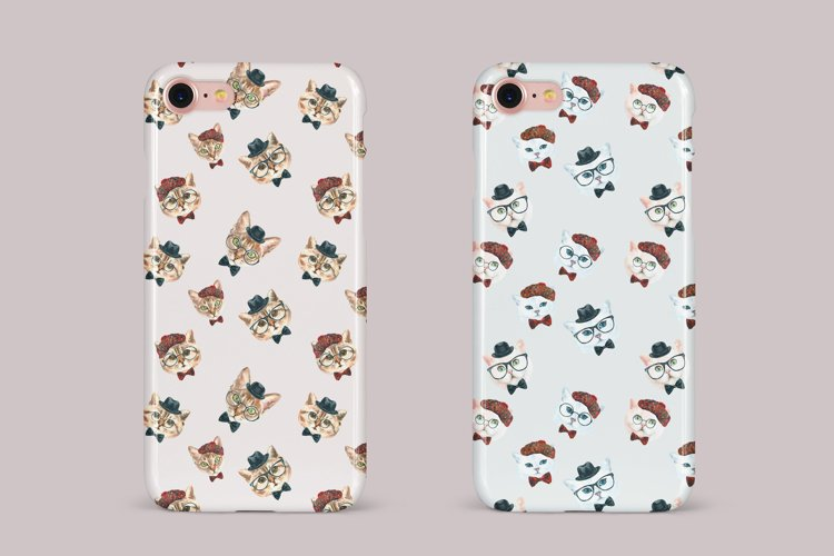 Cat watercolor patterns  - Free Design of The Week Design10