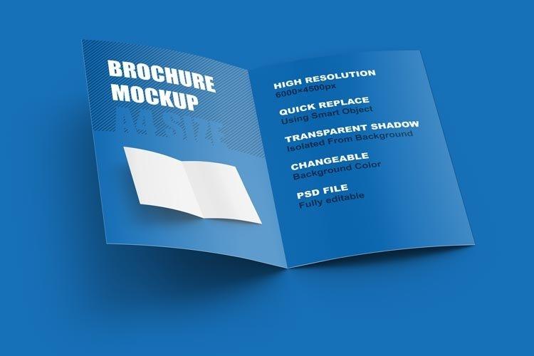 Open brochure mockup. Vertical A4 format.