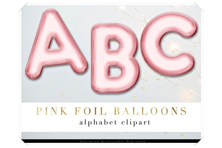 Rose Gold Foil Balloons Letters Clipart