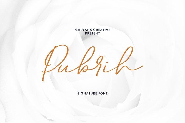 Pubrih Signature Font example image 1