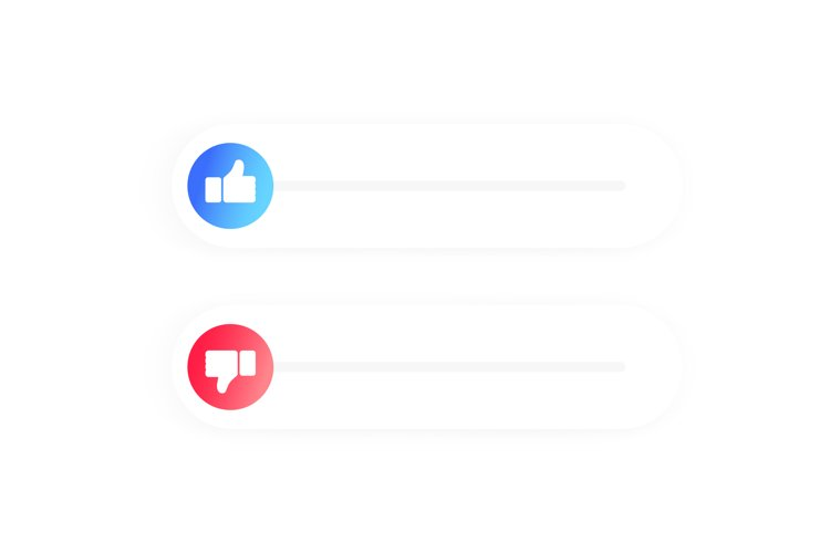 Rating of mobile app. Thumb up and thumb down. Flat icons example image 1