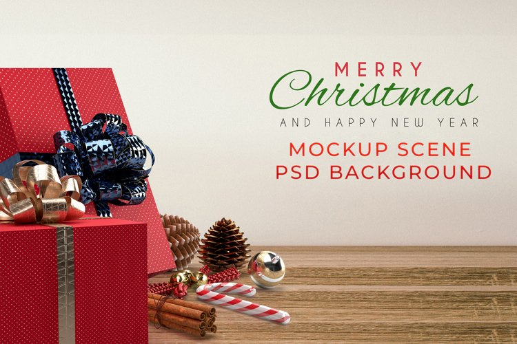 Christmas Mockup Scene PSD Background example image 1