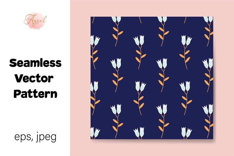 White Lily Flowers Digital Paper, Seamless Pattern example image 1
