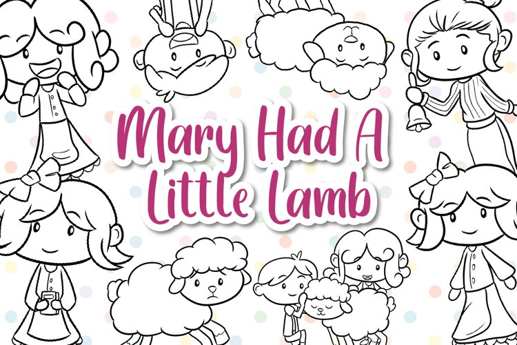 Mary Had A Little Lamb Digital Stamps