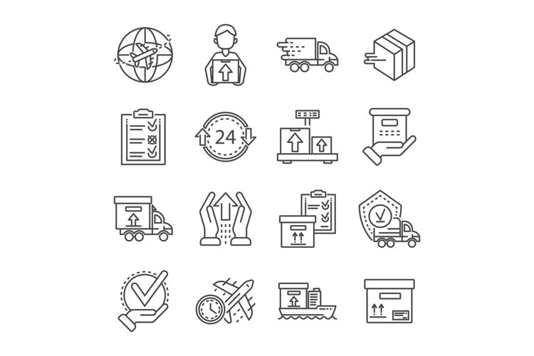 Parcel dellivery icon set, outline style example image 1