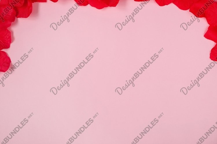 Valentines day flatlay, pink background example image 1
