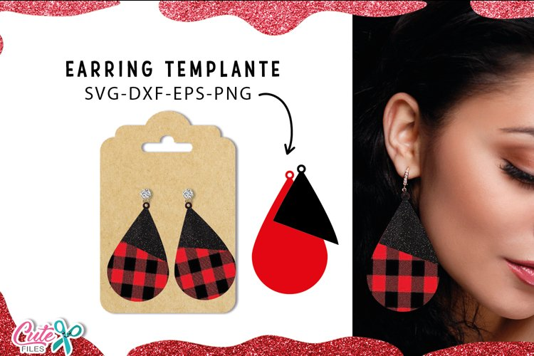 Tear drop Earrings templante SVG cut file for crafter example image 1