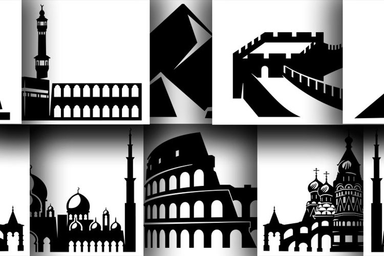 6 Architectural monuments in silhouettes for cut or print example image 1