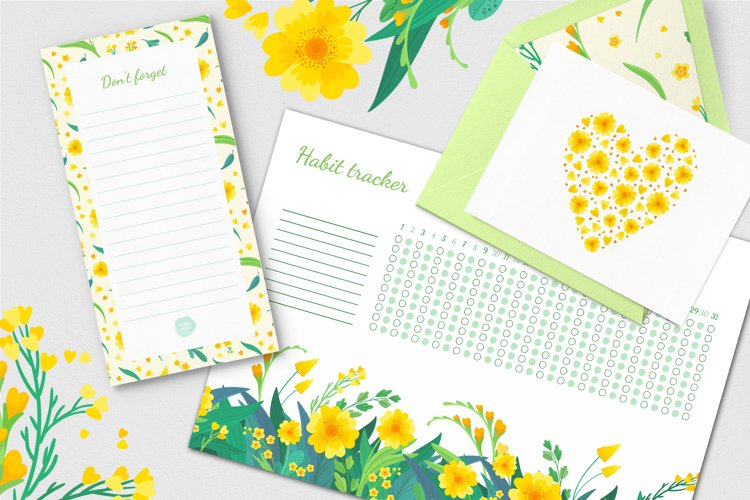 Yellow Flowers Vector Clipart example 3
