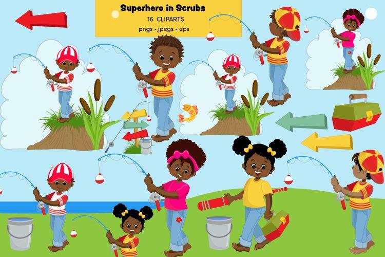 African American Kids Fishing