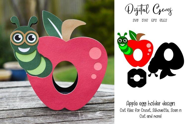 Apple egg holder design, Caterpillar / Teacher SVG / DXF example image 1